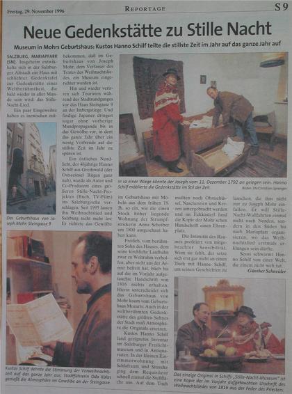 """Neue Gedenkstätte zu """"Stille Nacht"""" Die SN berichtet: Museum in Mohrs Geburtshaus. Kustos Hanno Schilf teilte die stillste Zeit im Jahr auf das ganze Jahr auf. Urschrift des Weihnachtsliedes von 1816 vom Prister."""