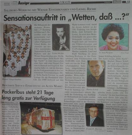 """Sensationsauftritt in """"Wetten daß..."""" Der Salzburger Stadtanzeiger berichtet: Salzburg Werbung mit Wiener Sängerknaben und Lionel Richie als Höhepunkt der nächsten 'Wetten daß' Sendung am 5. Dezember in Erfurt"""