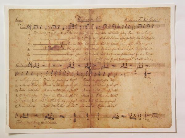 Der Beweis: 'Stille Nacht! Heilige Nacht!' entstand im Jahr 1816 Das Original für Gitarre, aus der Hand des Joseph Mohr datiert auf 1816. Mit diesem erst 1995 entdeckten Autograph began die Neuinterpretation der Entstehungsgeschichte des Liedes.